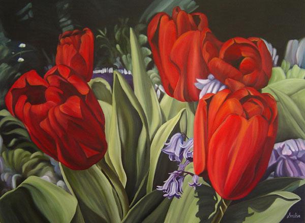 Red Tulips by Saskia
